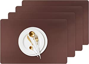 NEEBAO Leather Placemats Set of Coffee Cupmats,Western Food Plate Placemats,Heat-Resistant and Non-Slip Dining Tables Mats,PVC Environmentally Friendly Materials Easy to Clean (Brown, 4)