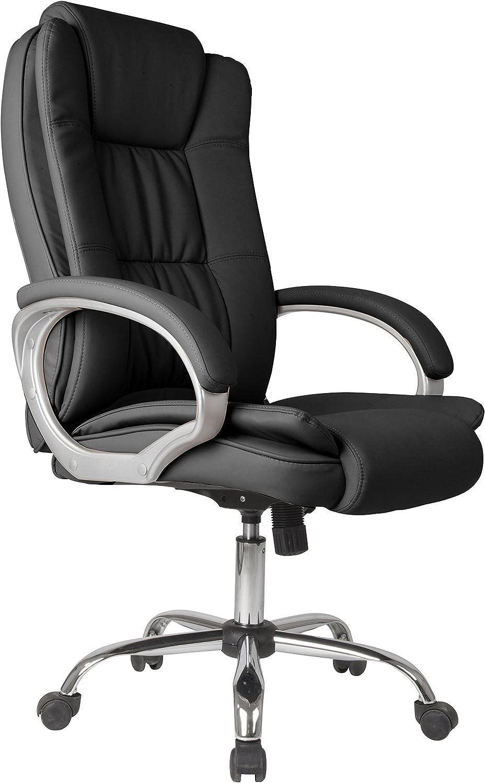VS Venta-stock Chaise de Bureau Confort 2 Elevable et Fauteuil inclinable en Simili Cuir Noir