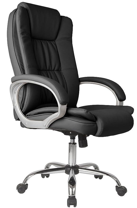 Venta Stock Confort 2 - Sillón de Oficina elevable y reclinable, Piel sintética, Color Negro