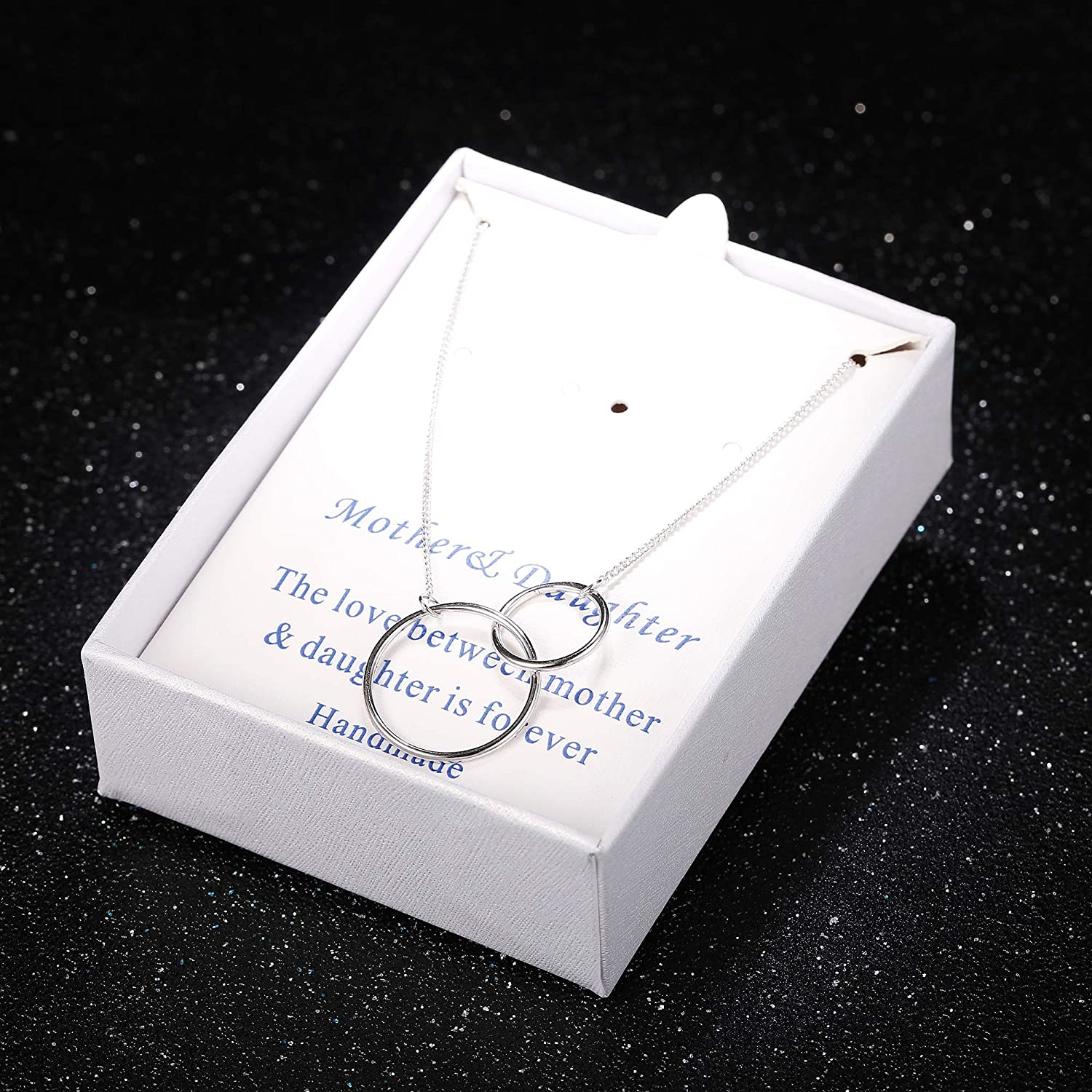 LOYALLOOK Women Necklace Mother Daughter Gift Necklace 925 Sterling Silver Infinity Pendant Necklace Jewelry Gift Lover for Mothers Day