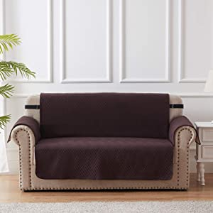 Chocolate Loveseat Slipcover Furniture Protector 100% Waterproof Diamond Pattern Loveseat Couch Cover with Adjustable Elastic Strap and Non-Slip Backing