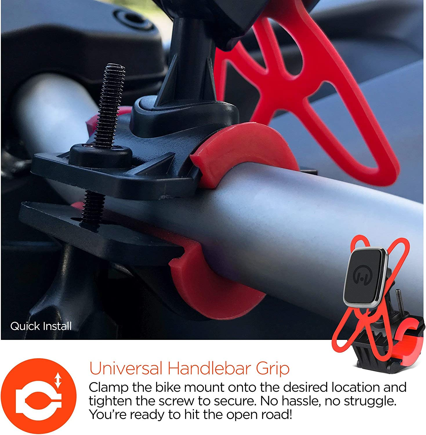 Galaxy S9 //S9+ //Note 8 // S8//S8Plus /& More Universal Magnetic Bike Mount Cell Phone Holder Renewed Compatible for iPhone X//8//8 Plus Black Mounting on Motorcycles /& Strollers