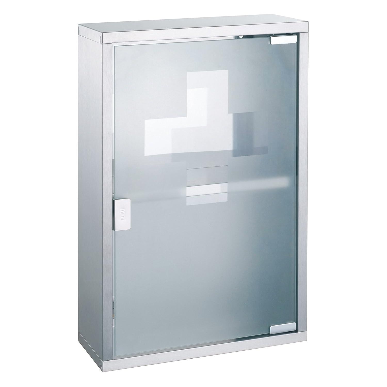 MSV 140490 - Armadietto dei medicinali in vetro temperato e acciaio INOX spazzolato, 30 x 12 x 45 cm