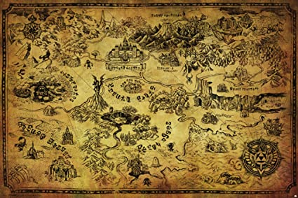 Pyramid America Legend of Zelda Map Video Game Cool Wall Decor Art on