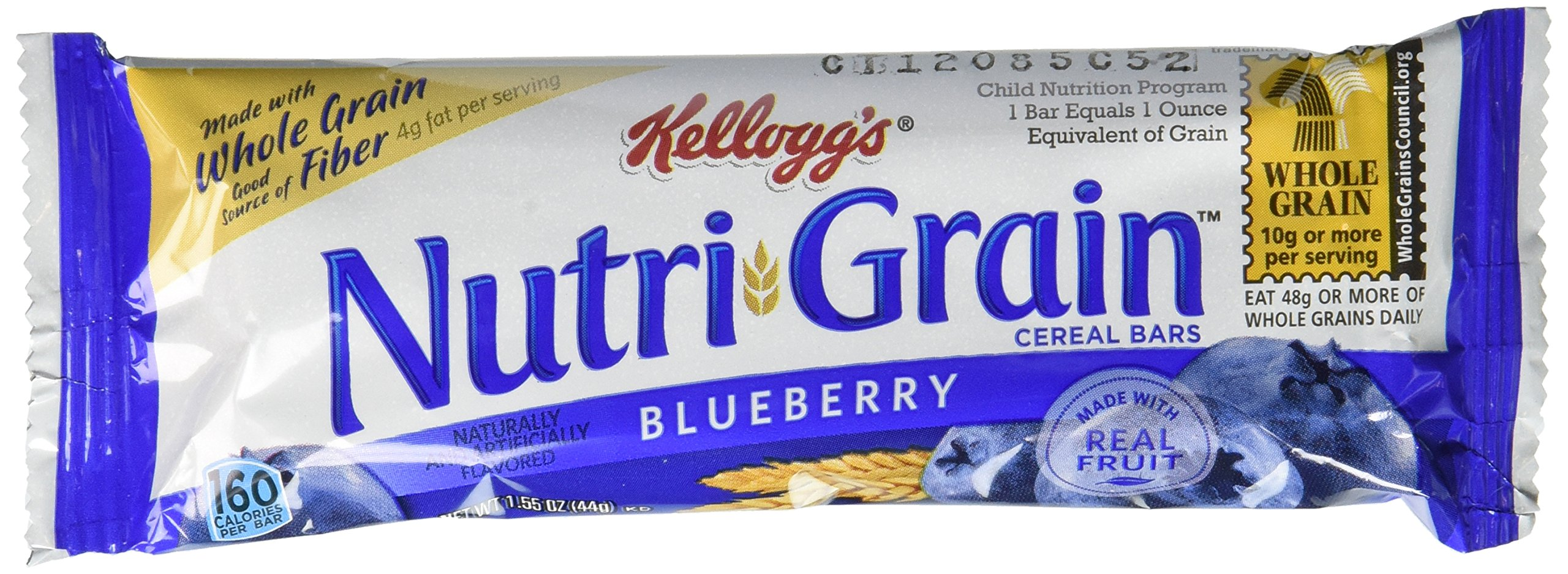 Kellogg's Nutri-Grain Cereal Bars (Blueberry, 1.55 oz, Pack of 96) by Nutri-Grain