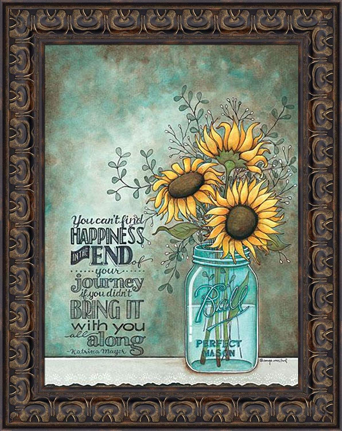 Bright and vibrant with hints of gold. Sunflower Simple Mason jar with one sunflower