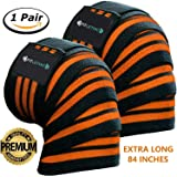 Fitlethic Weight Lifting Knee Wraps Straps Unisex - 84 inches Long Adjustable Knee Support Compression Sleeves for Gym Workout,Cross Training,Squats,Powerlifting (Orange)