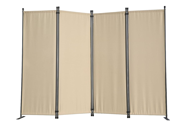 Angel Living 5870420 Paravant,Sichtschutz,4 Fach Faltbar,Gartenwand, Seitenmarkiese aus Stahl und Polyester,Folding Screen Room Divider Privacy Screen (225x165cm, Beige)