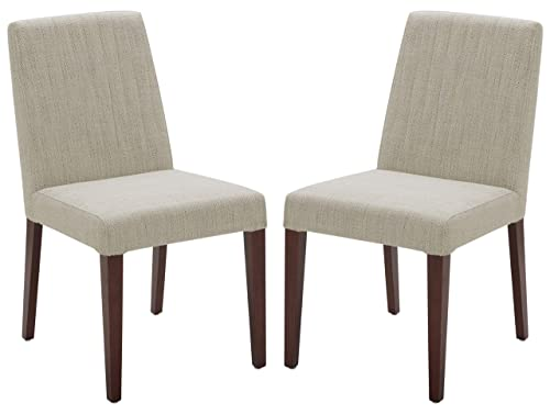 Rivet Contemporary Channel-Back Dining Chair, 35 H, Ivory, Set of 2