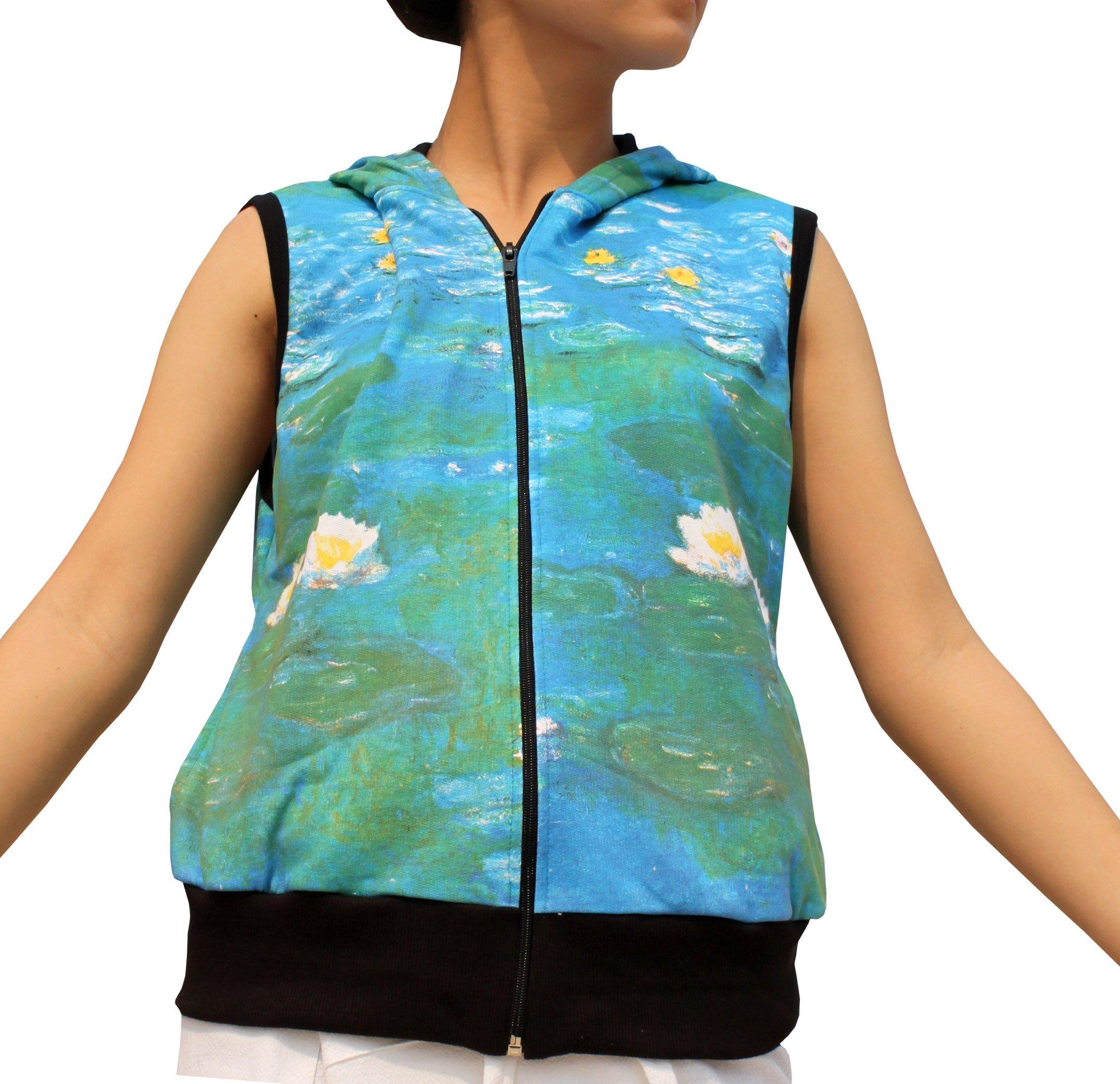 RaanPahMuang Water Lilies Fine Art Claude Monet - Jacket Hoody Sleeveless, Medium