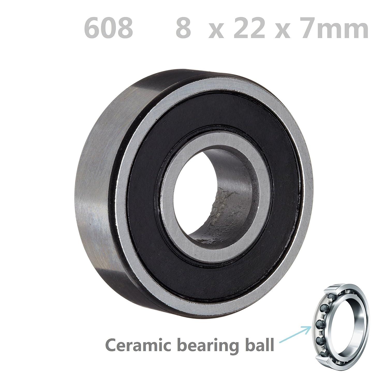 608-2RS 4 PCS Hybrid Ceramic Si3N4 Rubber Sealed Ball Bearings 8x22x7 mm