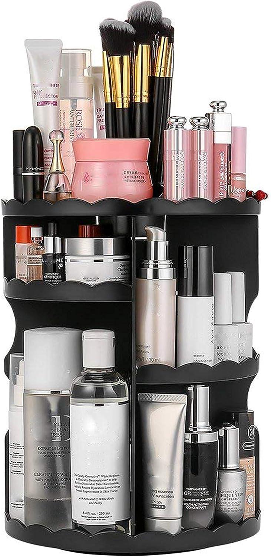 Dseap Makeup Storage Organizer Countertop - 360 Rotation, Adjustable, Large Capacity - Vanity Organizer, Skincare Organizers, Makeup Shelf, Make up Holder, Makeup Caddy, Flower,Black