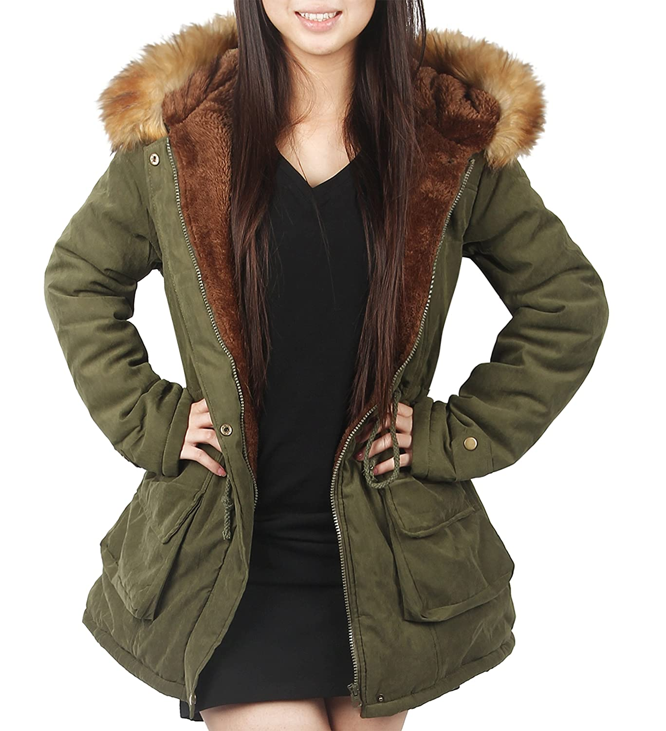 4HOW Damen Winterantel Women Parka Coat mit Pelzkapuze
