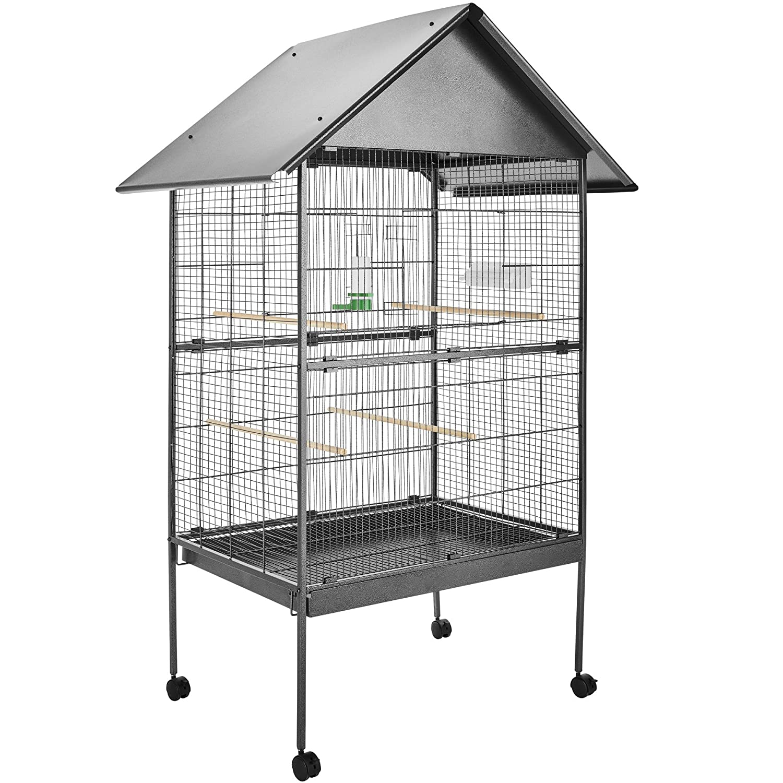 TecTake Volière pour Oiseaux Cage sur roulettes Canaries Perroquet perruches canaris - diverses Modèles - (sans Toit | no. 401004)