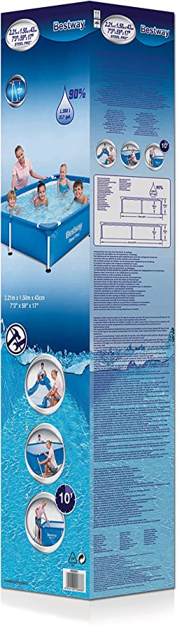 Bestway 56401 - Piscina Desmontable Tubular Infantil Splash Jr. Frame Pool 221x150x43 cm: Amazon.es: Jardín