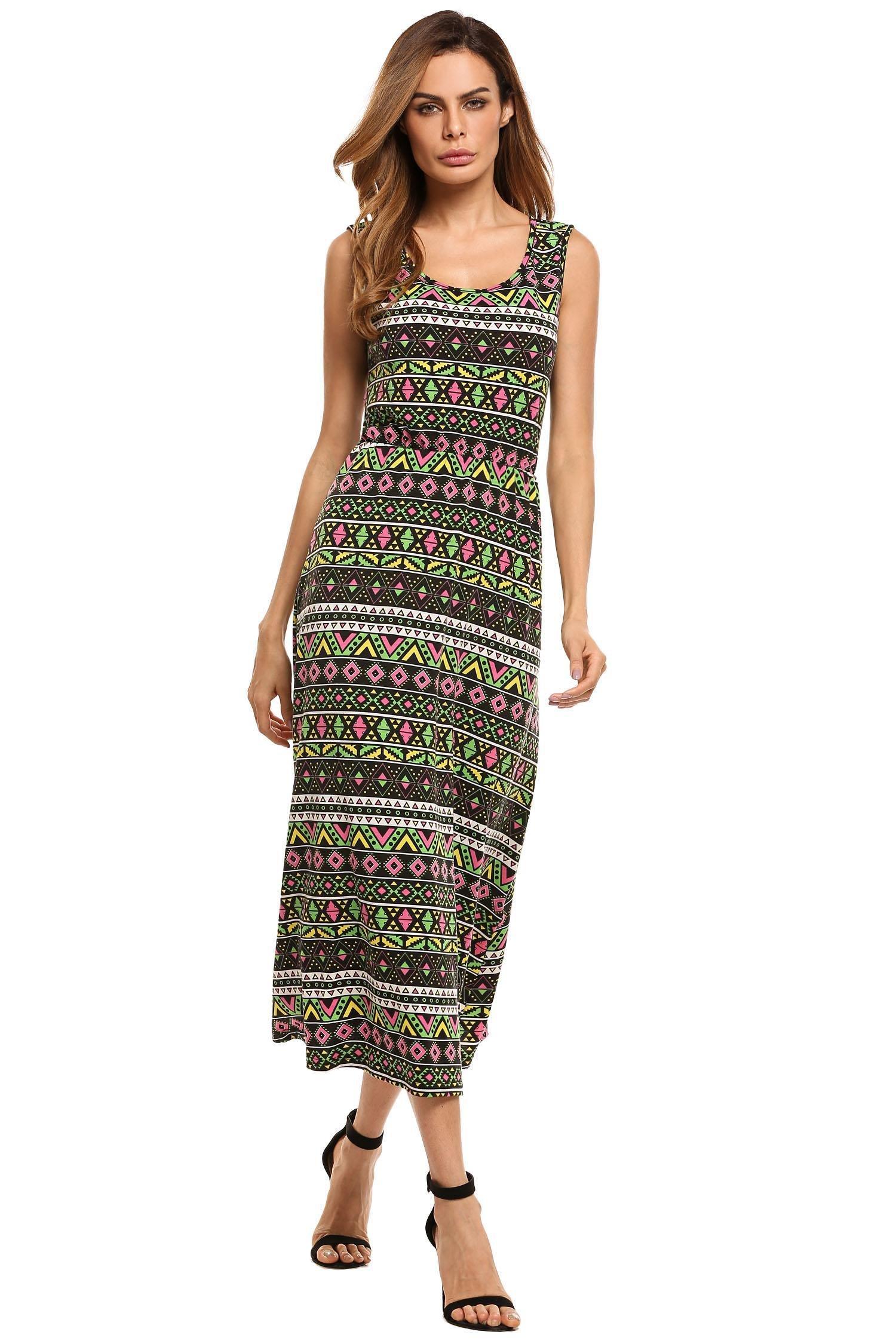 Zeagoo Women's Boho Sleeveless Sundress Casual Loose Vintage Print Maxi Tank Dress Green Small