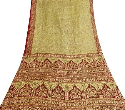 Vintage étnico Tela de fabricación Sari 100% Seda Beige Resumen Vestido Estampado Indio
