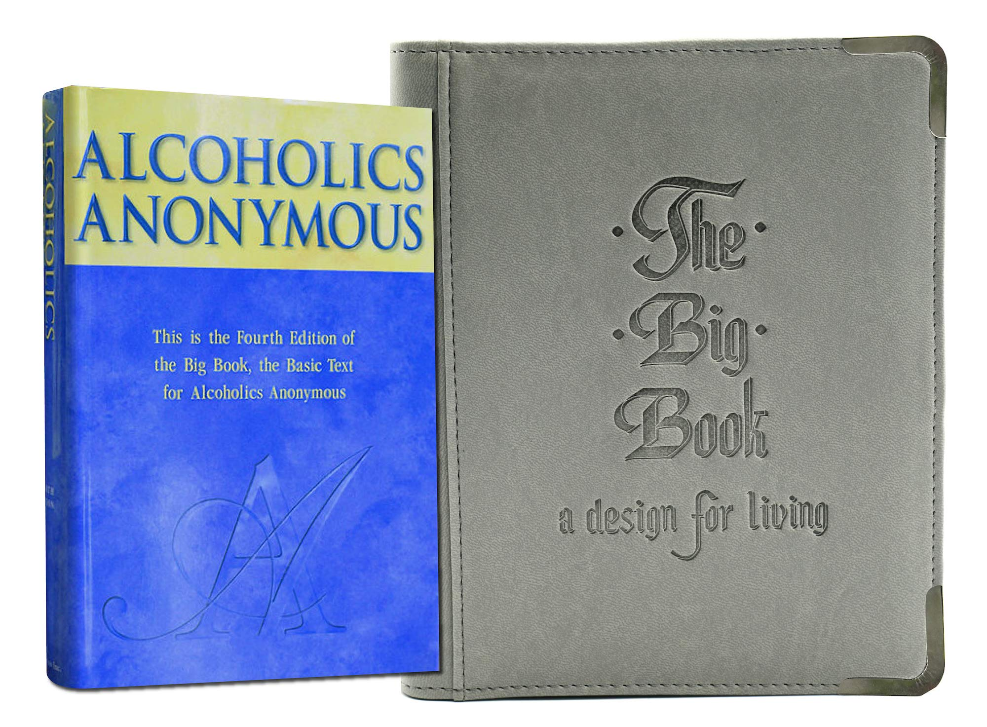 Gray AA Bookcover with Big Book of Alcoholics Anonymous Included You Get Both