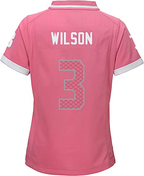 Russell Wilson Seattle Seahawks NFL Youth Girls Bubble Gum Pink On-Field Jersey