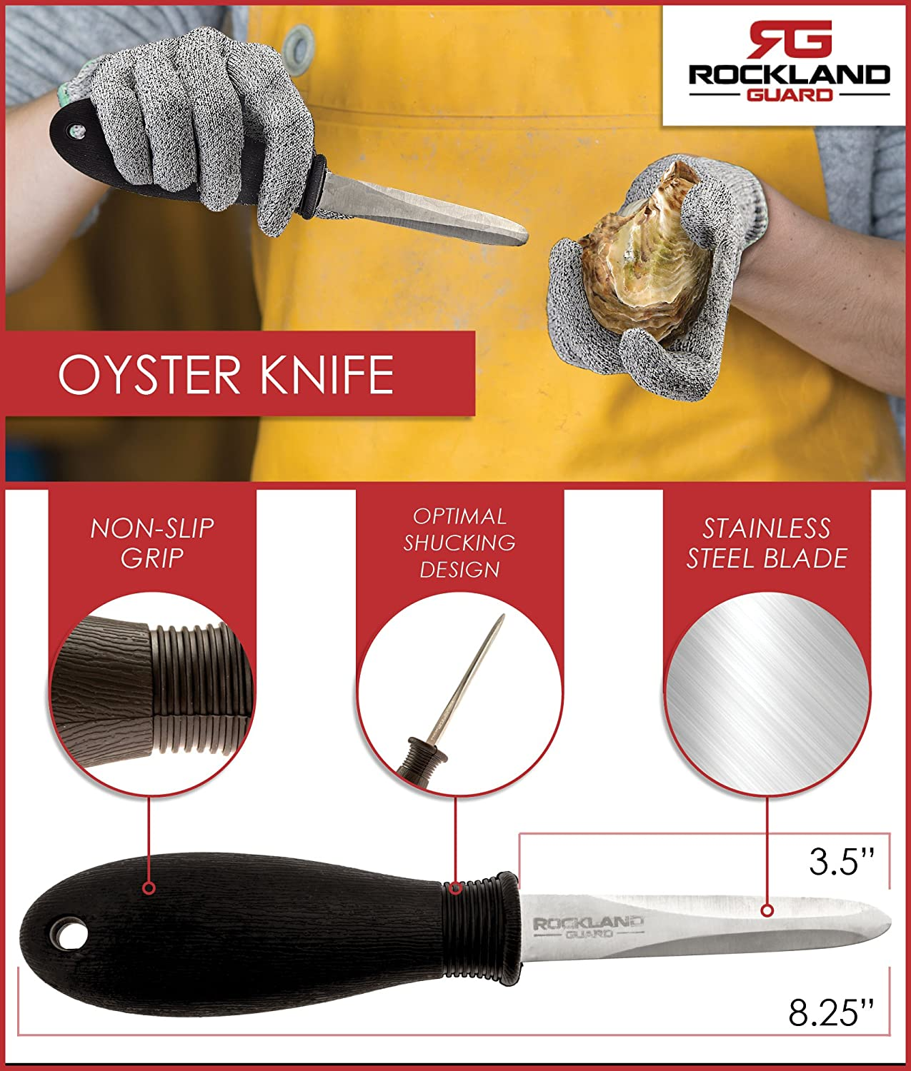 Rockland Guard Oyster Shucking Set including 3.5'' Stainless steel Oyster Knife
