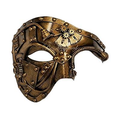 Amazon.com: Steampunk Phantom Mascarilla Veneciana de Oro ...