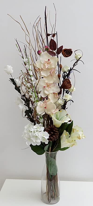Unique Design Cream Artificial Orchid and Dried flower Bouquet 85 cm ...