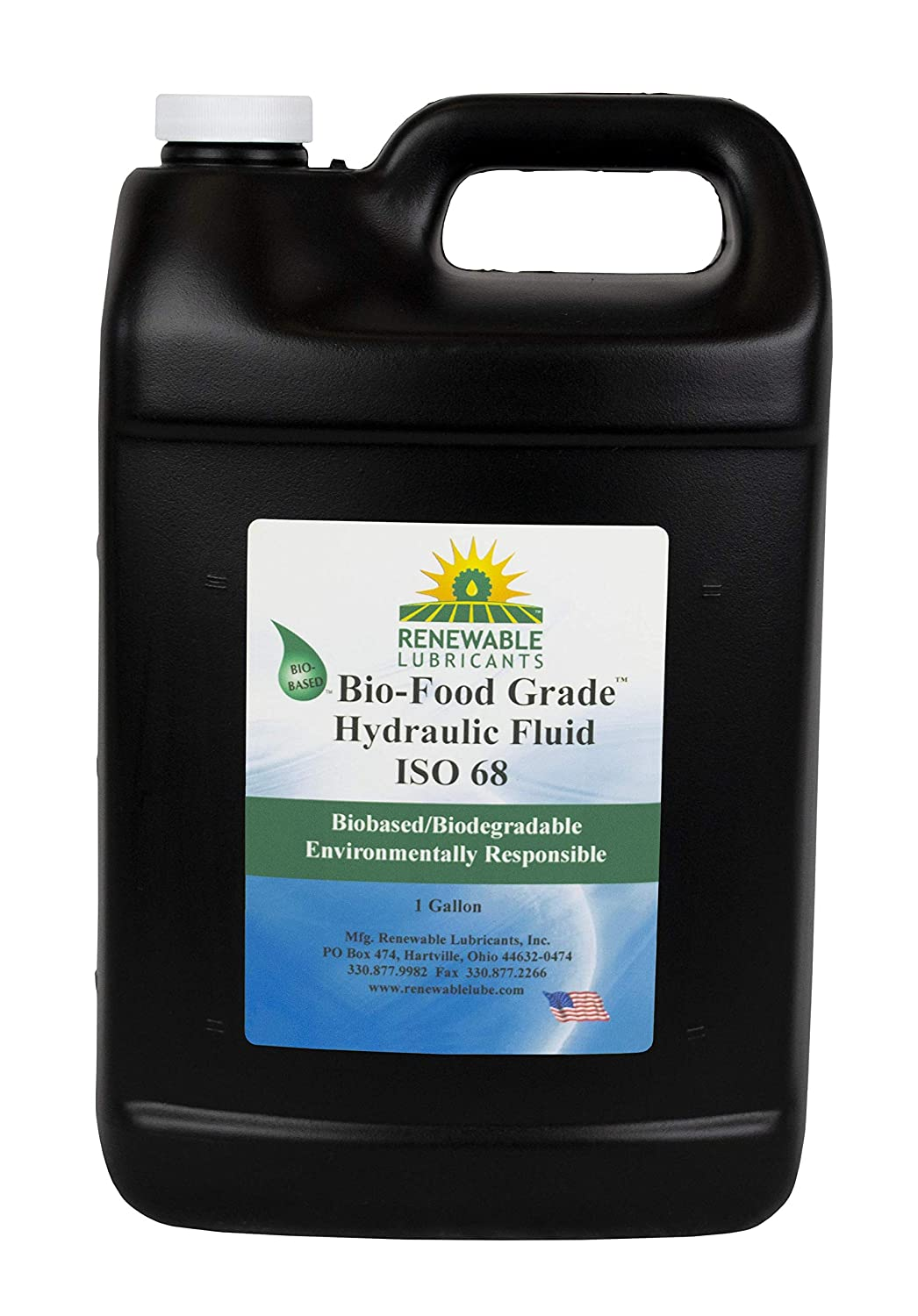 Renewable Lubricants - 87143 Bio-Food Grade Hydraulic Fluid, 1 gal, ISO 68, Yellow