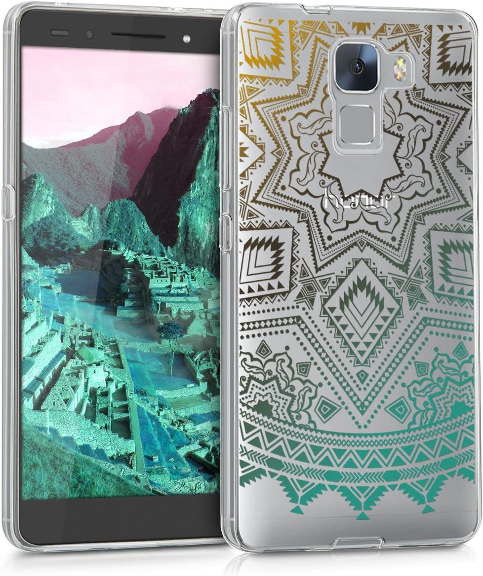 kwmobile Funda Compatible con Huawei Honor 7 Honor 7 Premium Carcasa de TPU y Sol hind/ú en Amarillo//Rosa Fucsia//Transparente