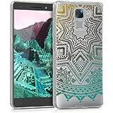 kwmobile Cover per Huawei Honor 7 / Honor 7 Premium - Custodia in silicone TPU - Back case protezione posteriore per cellulare Design sole Azteco giallo turchese trasparente