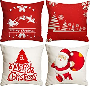 Kidtion Christmas Pillow Cover 18x18, Set of 4 Christmas Farmhouse Throw Pillow Covers for Sofa & Home Decor, Delicate Christmas Pillow Cases, Christmas Cushion Covers with 4 Different Patterns