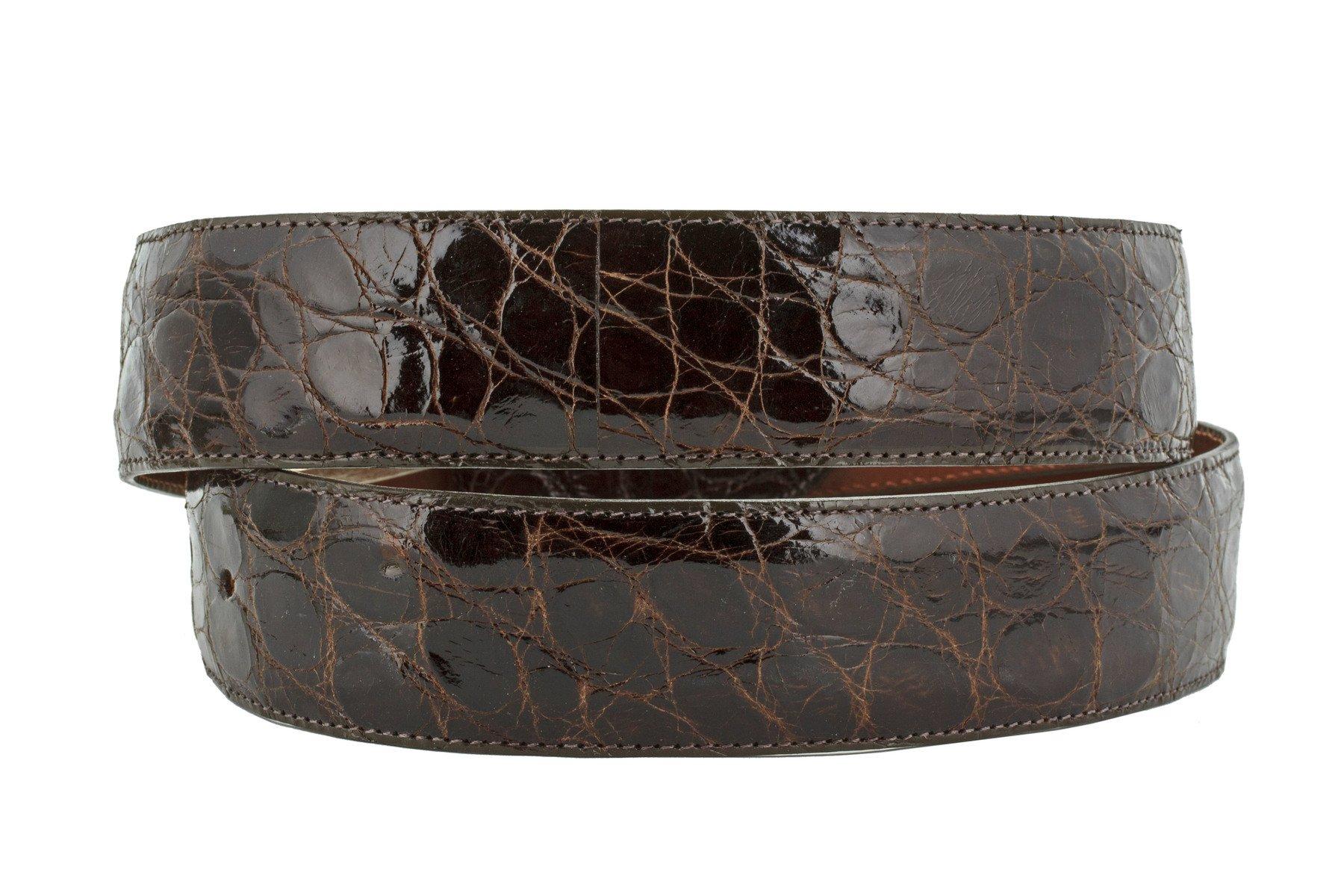 El Presidente - Men's Brown Genuine Crocodile Belly Skin Leather Dress Belt 40 by El Presidente (Image #2)