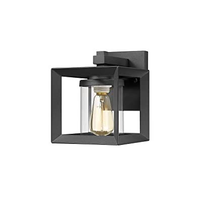TENGXIN Outdoor Wall Sconce, Wall Lantern, Proch Light, Black Finished with Clear Glass Shade UL Listed, 1 Pack, Suitable for Garden & Patio Lights