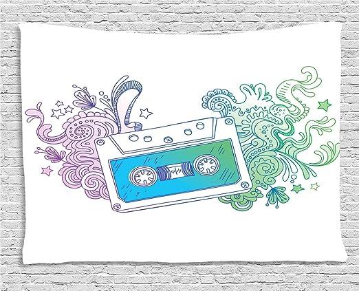 ABAKUHAUS Garabatear Tapiz de Pared, Cinta De Cassette Audio, para ...