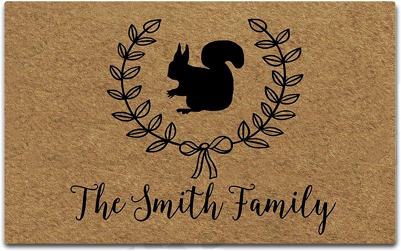 Artswow Funny Doormat Squirrel Personalized Your Text Door Mat Decorative Indoor/Outdoor Entrance Floor Mat 30 Inches by 18 Inches