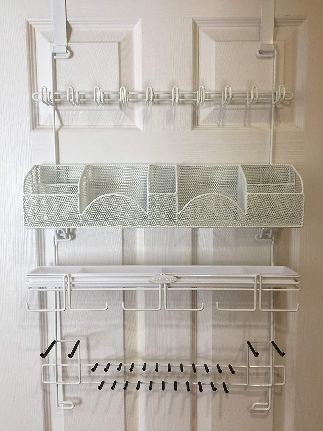 Men's Over the Door/Wall Belt Tie Valet Organizer - WHITE men's organizer - Patented - Rated Best! Longstem Organizers Inc. 9300