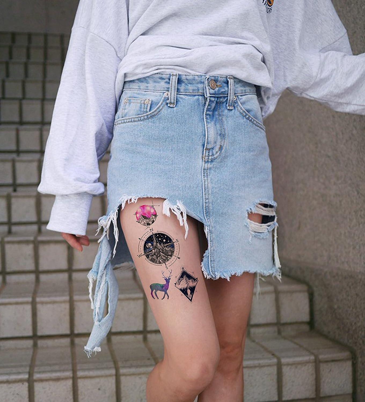 4 hojas tattoo Sticker Mandala Brújula Wolf Muelle Tatuajes Color Dream Set 3: Amazon.es: Belleza