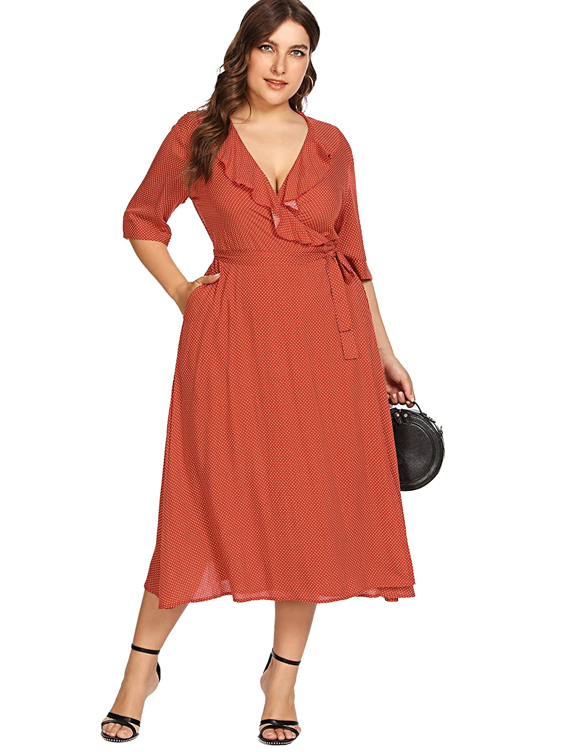 60s 70s Plus Size Dresses, Clothing, Costumes Milumia Plus Size Polka Dot Dress Pockets Ruffled Wrap V Neck Empire Waist Maxi Dress $25.99 AT vintagedancer.com