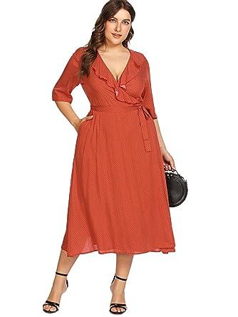 e906e5ca0a Milumia Plus Size Office Turn-Down Dress Maxi Polka Dot Vintage Retro  Ruffled Dress Orange