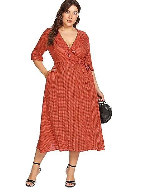 Milumia Plus Size Polka Dot Dress Pockets Ruffled Wrap V Neck Empire Waist  Maxi Dress