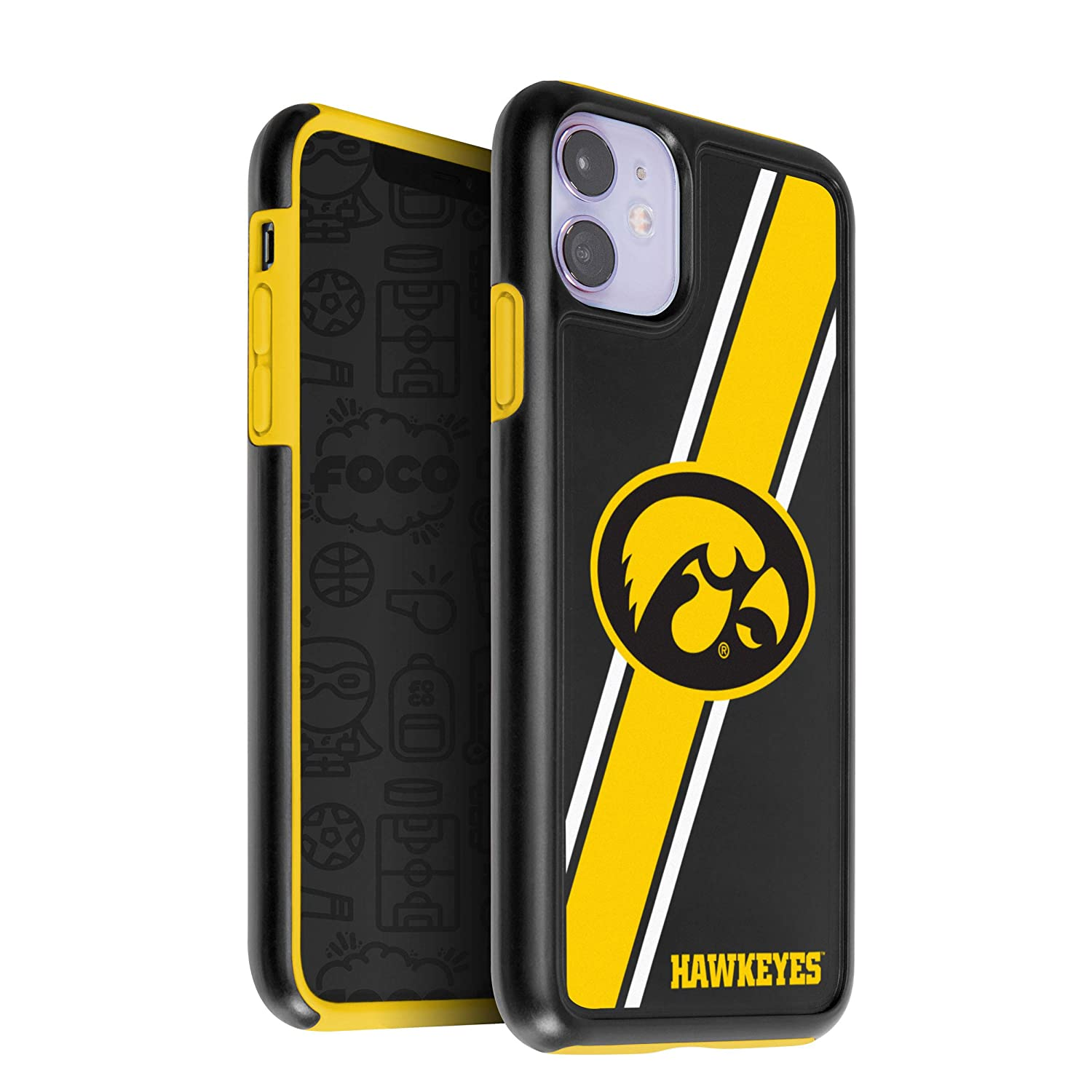 Team Color One Size FOCO NCAA Iowa Hawkeyes Unisex iPhone 11 6.1 Inch/ Screen Only /Dual Layered Impact Licensed Case