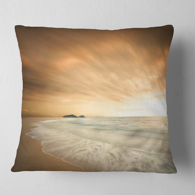 Designart CU13787-18-18 Beautiful Brown Sunset Beach Cushion Cover for Living Room Sofa Throw Pillow x 18 in