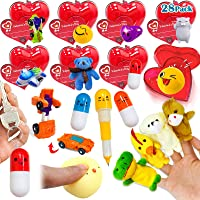AMENON 28 Pack Cards with Toys, Prefilled Valentines Heart Kids Toys Bulk for School Classroom Exchange Prizes Party…