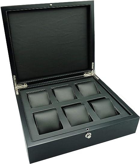 Caja XXL de Madera Calidad Alta relojeria para 6 Relojes - Wood Watch Box 6 Watches: Amazon.es: Relojes