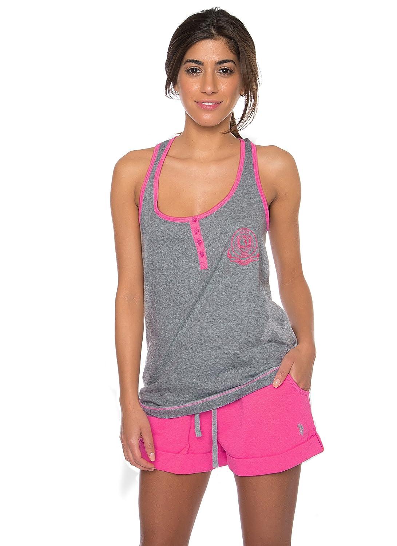 U.S. Polo Assn. Womens 2 Piece Lounge Shirt Elastic Waist Shorts Pajama Sleep Set