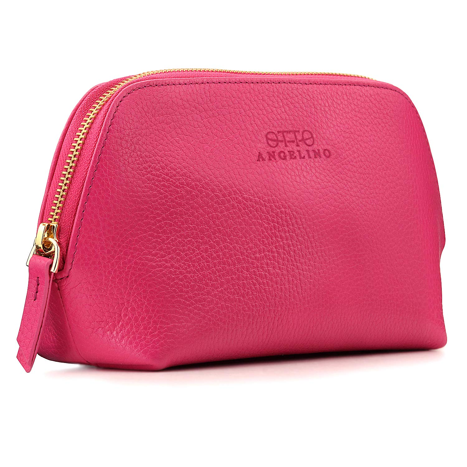 Otto Angelino Genuine Leather Makeup Bag Cosmetic Pouch Travel Organizer Toiletry Clutch, Pink