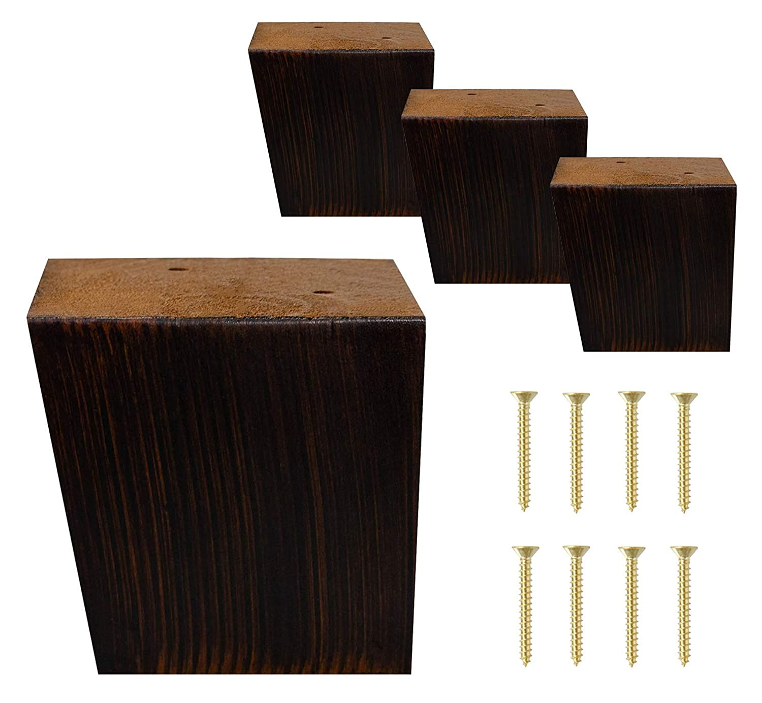 "ComfortStyle Furniture Legs, Sofa Ottoman and Chair 3.5"" Wood Feet Replacement, Set of 4 Mid Century Modern Angled Feet, Brushed Espresso Finish"