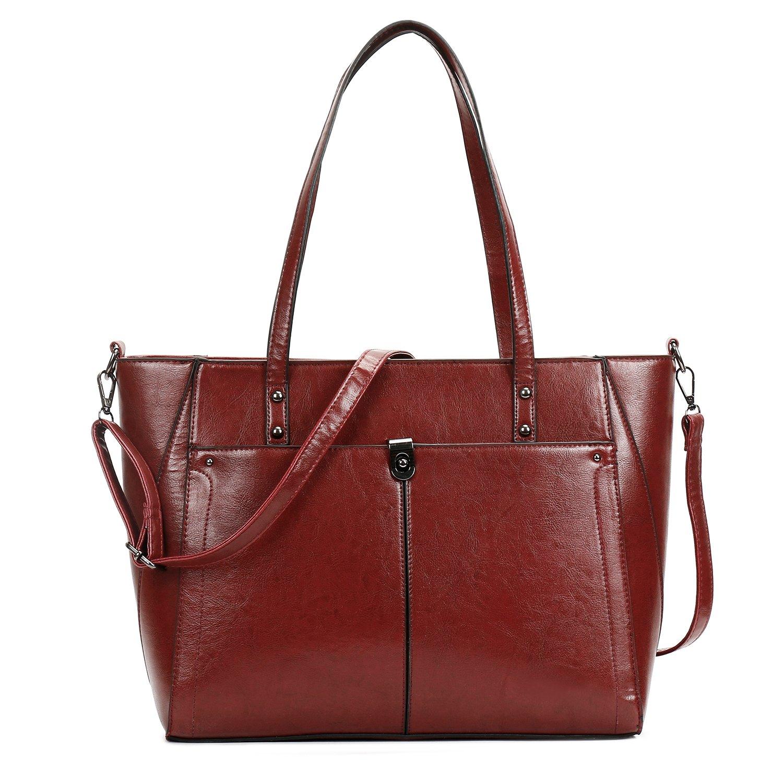 SIFINI Women PU Leather Large Shoulder Bag New Style Ladies Purse Handbag Messenger Bag Tote Bags (wine)