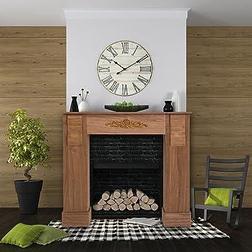 Mobili Rebecca Umrandung Kamin Dekoration Kaminkonsole Holz Stil Klassisch  Braun Wohnzimmer (RE4447): Amazon.de: Baumarkt