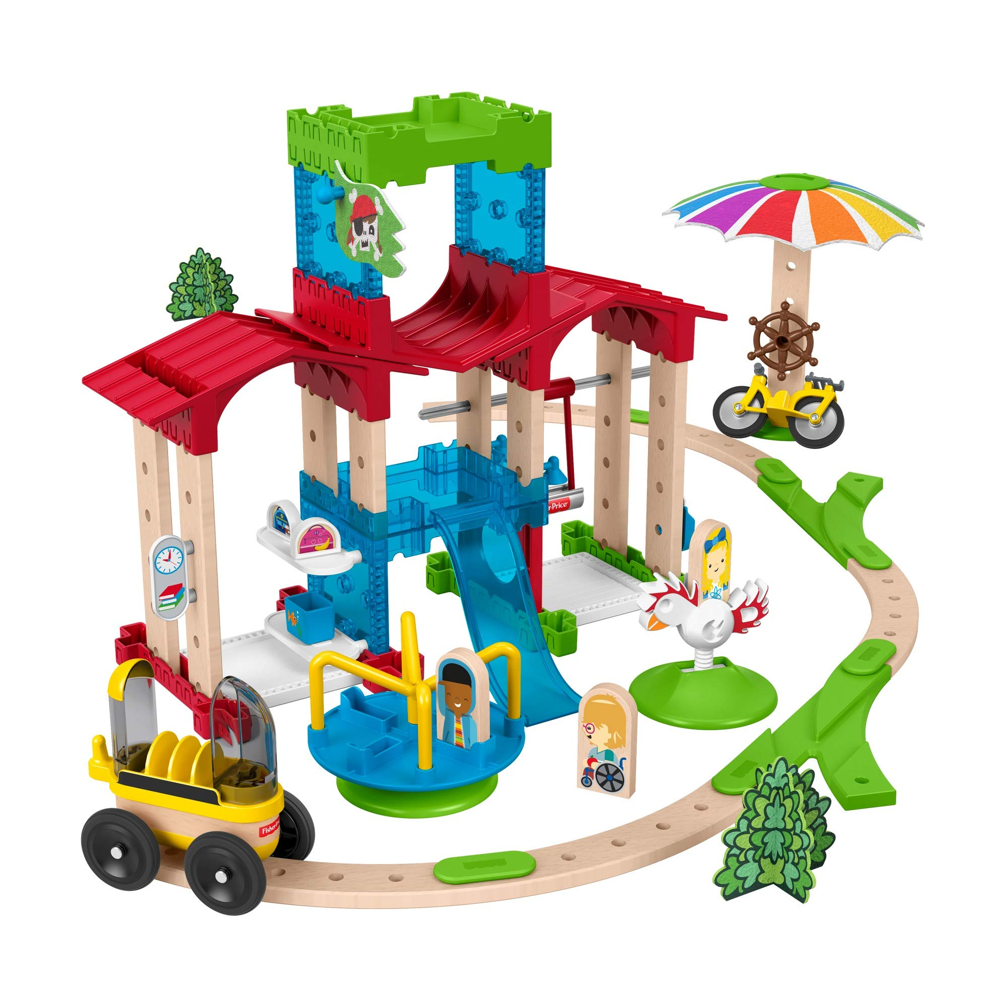 Fisher-Price Wonder Makers Slide & Ride Schoolyard – 75+ Piece Building and Wooden Track Play Set for Ages 3 Years & Up
