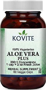 Kovite Aloe Vera Plus - 60 Veggie Caps - Kosher 200:1 Extract. Kosher Organic Dried Aloe Vera Gel, Marshmallow Root, Slippery Elm